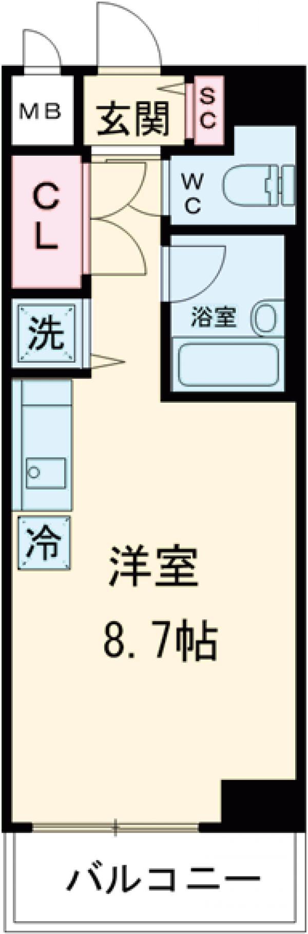 ビーサイト大崎・703号室の間取り