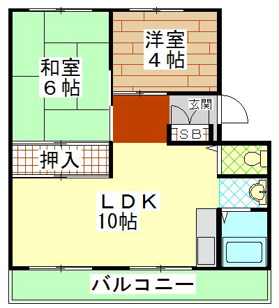 岸和田ハイツA棟 505号室の間取り