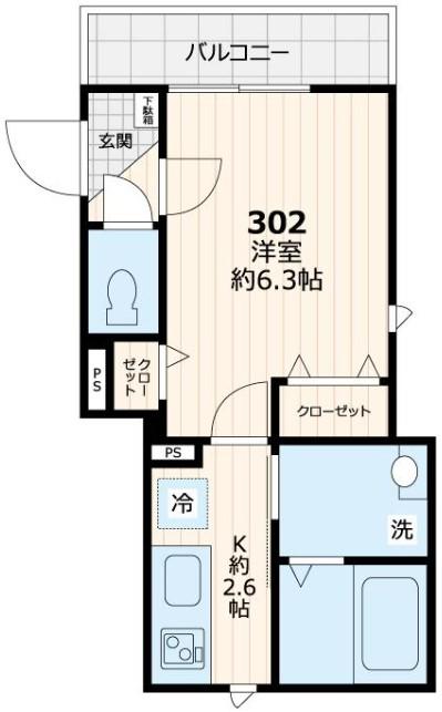 フィカーサK南長崎・302号室の間取り