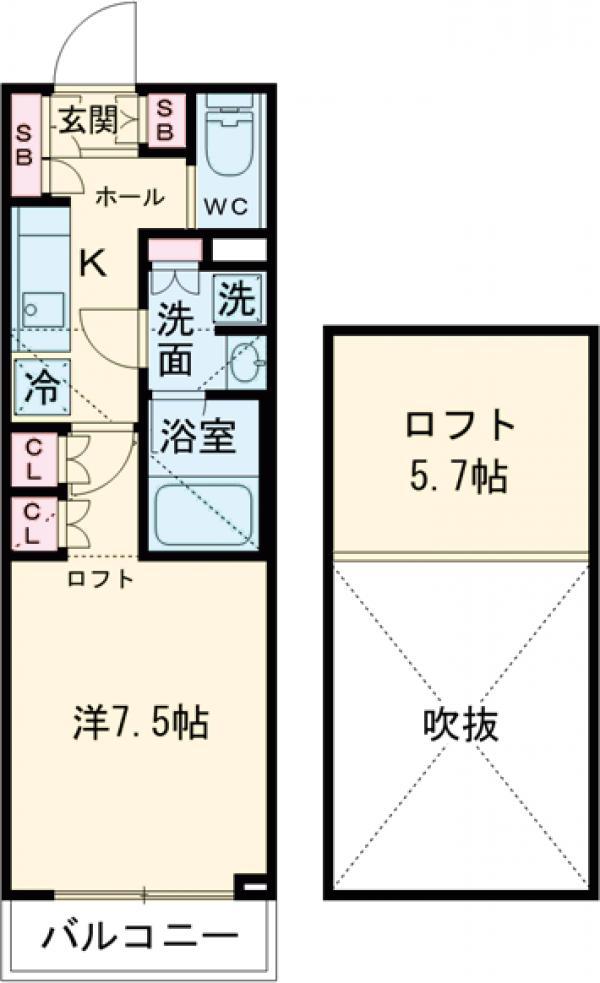 ブライズ世田谷桜・107号室の間取り