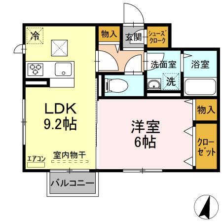 仮)D-roomよしわら A 203号室の間取り