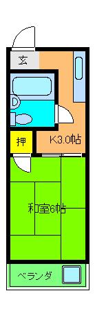 ハイツワタナベ2・201号室の間取り