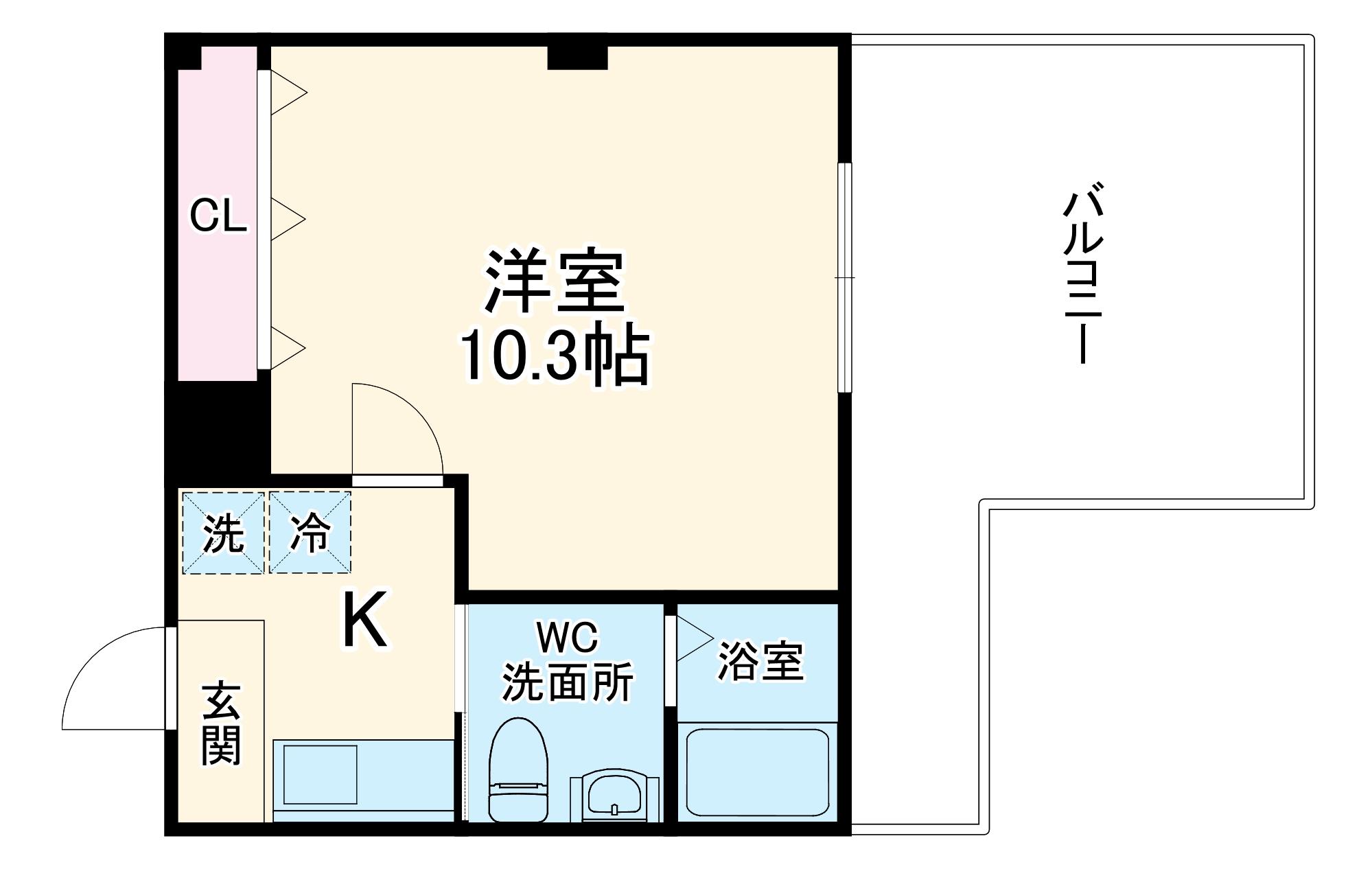 フラッティ円町北・701号室の間取り