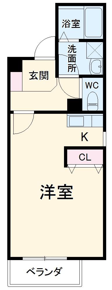 C-calme内田橋・102号室の間取り