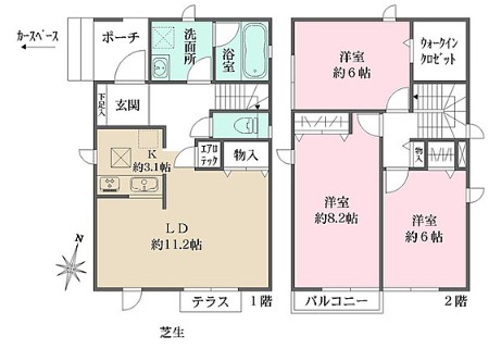 ザ・パークメゾン上井草駅前Ⅱ・1-1号室の間取り