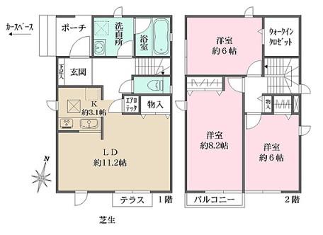 ザ・パークメゾン上井草駅前Ⅱ・3-1号室の間取り