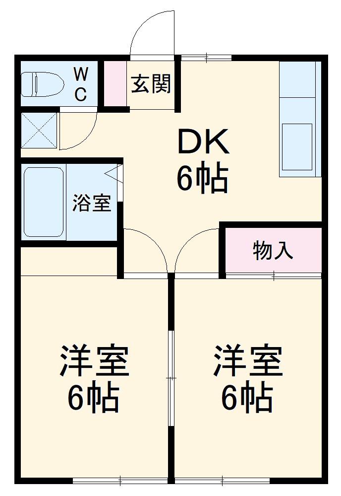 こてはしアパート・102号室の間取り
