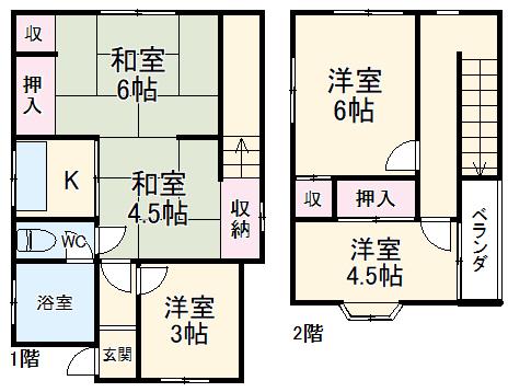 東初富4-4戸建・1号室の間取り