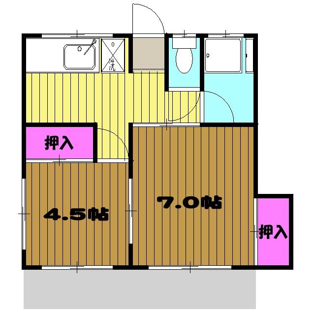 柳川コーポ・00103号室の間取り