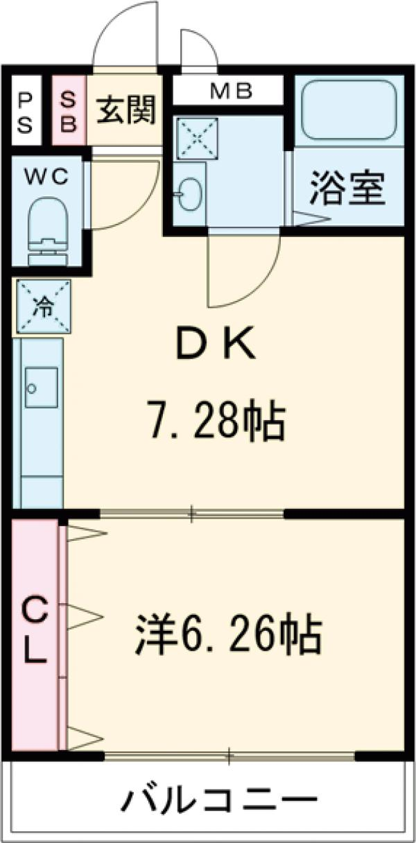Feliz岸和田 203号室の間取り