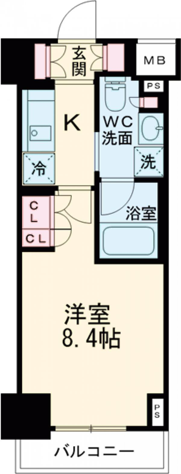 プラウドフラット西早稲田・504号室の間取り