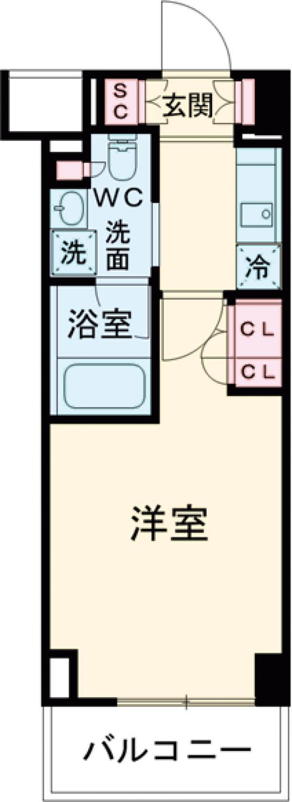 プラウドフラット西早稲田・603号室の間取り