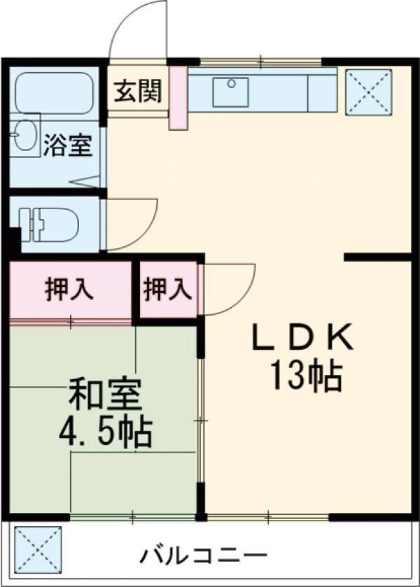 多摩川コーポ・203号室の間取り