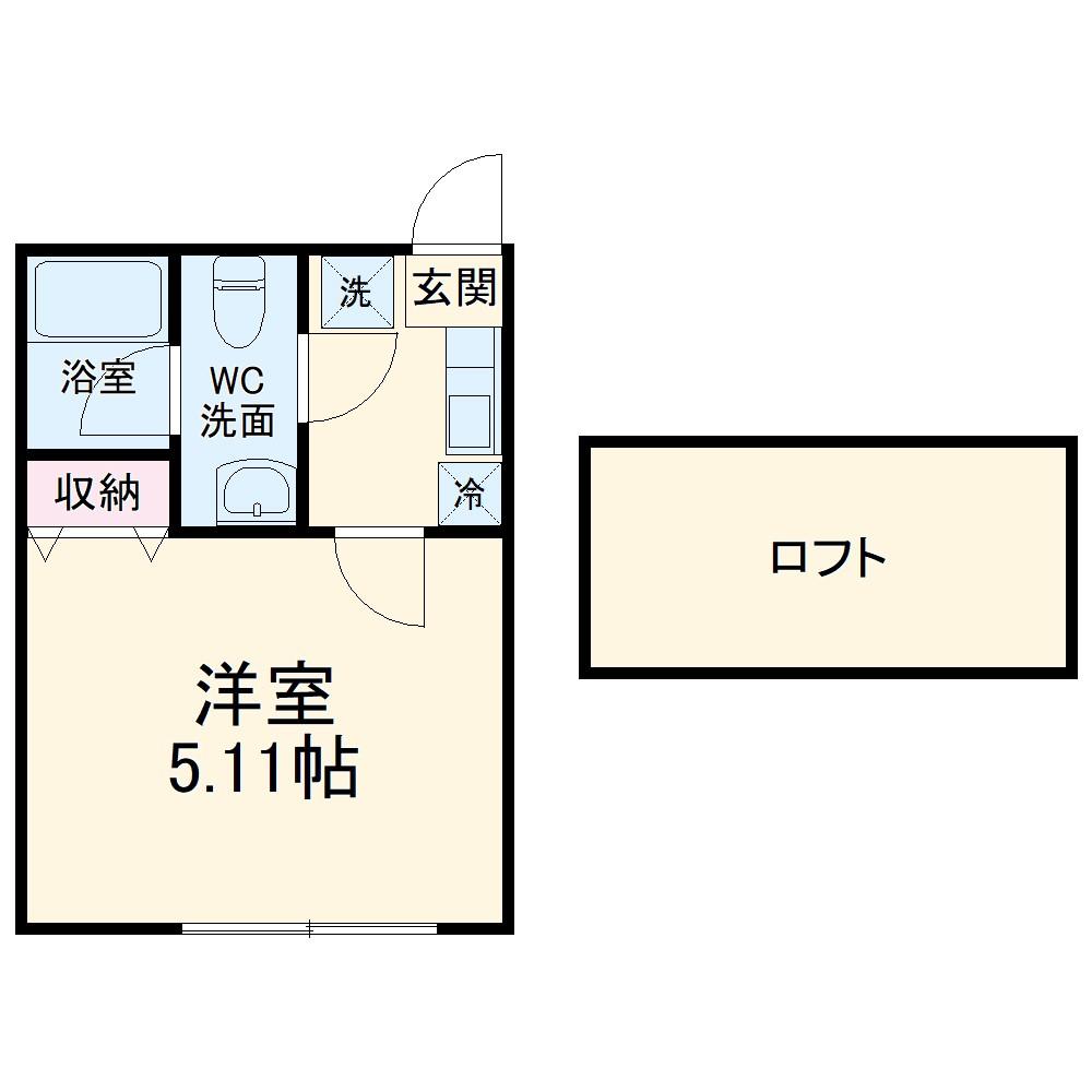 ビーコレクト富士見町1号棟・1B号室の間取り