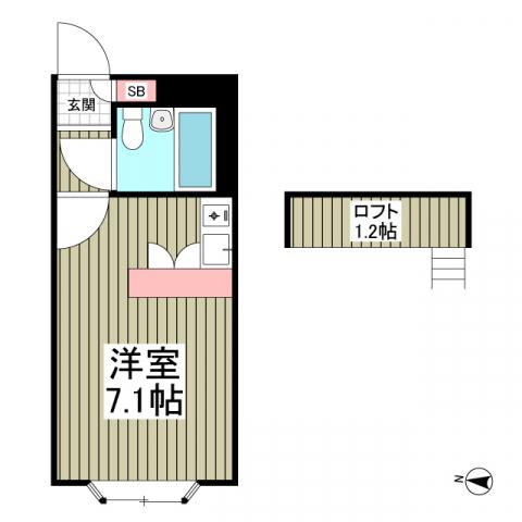 ベルピア愛甲石田・102号室の間取り