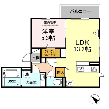 D-roomパル・301号室の間取り