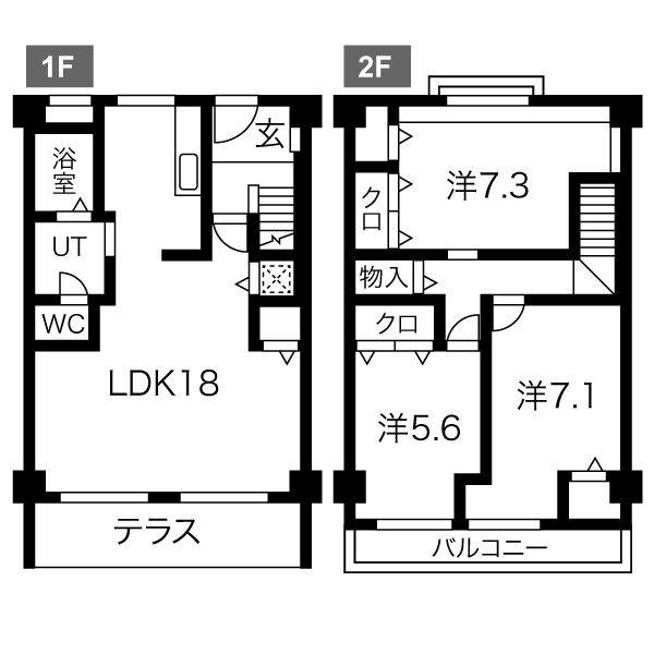 近鉄富吉テラスハウス・8号室の間取り