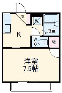 牛川通ウラヤマハイツ・205号室の間取り