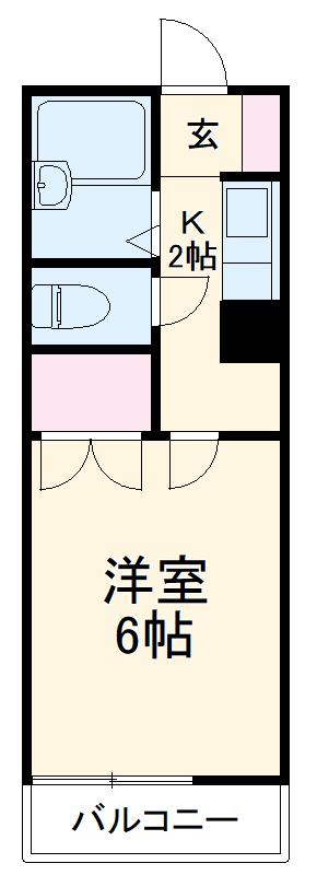 ユー草薙・203号室の間取り