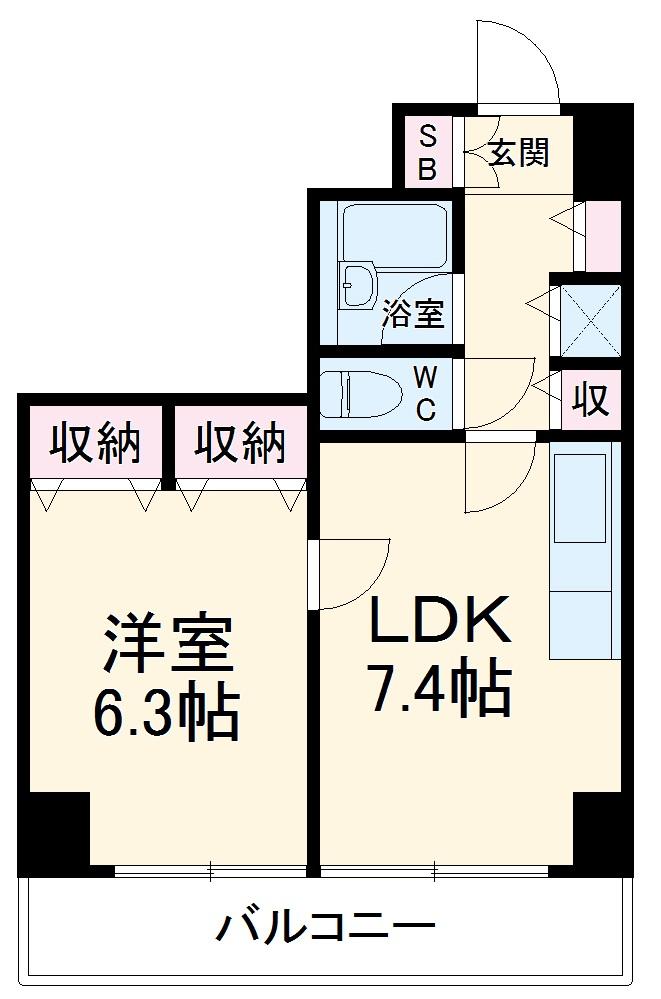 ピュアシティ東神奈川 702号室の間取り