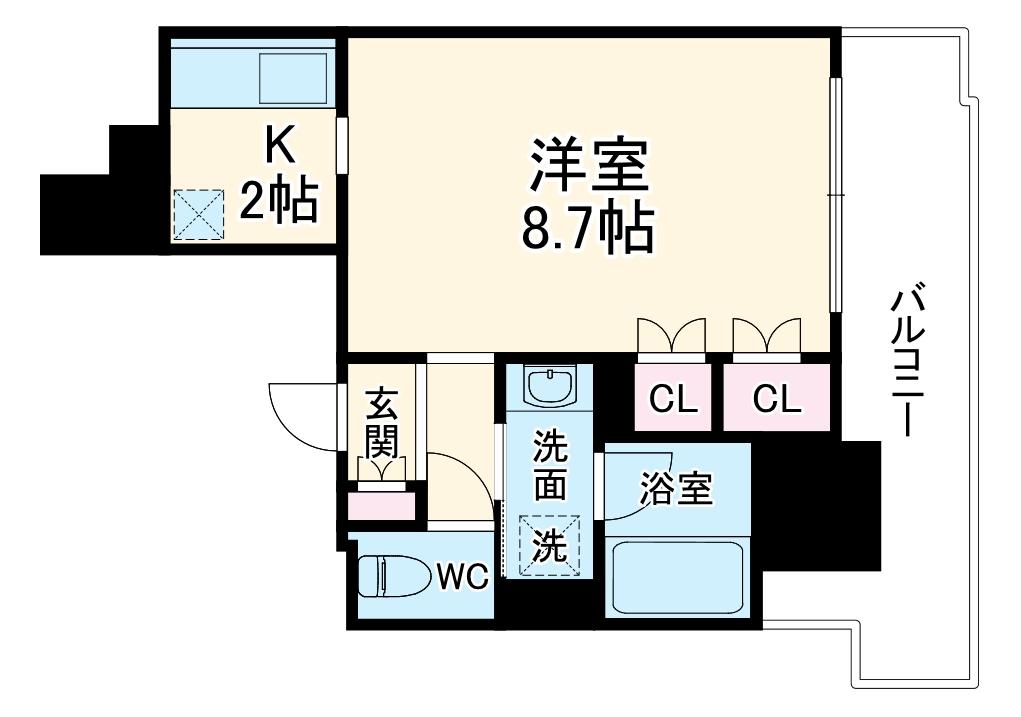 RJRプレシア吉塚駅前・1307号室の間取り