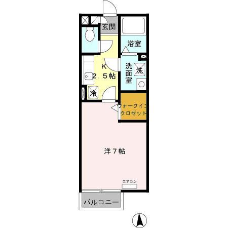 グランモア矢内谷・205号室の間取り