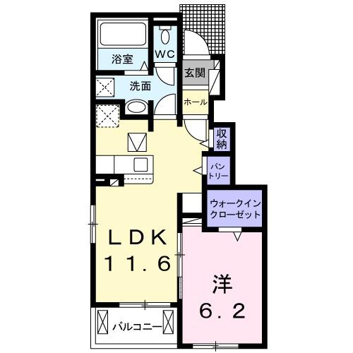 ゼクシー 桜ケ丘B棟・01030号室の間取り