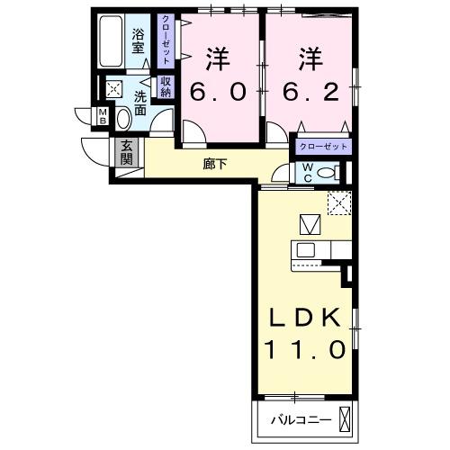 ゼクシー 桜ケ丘A棟・02020号室の間取り