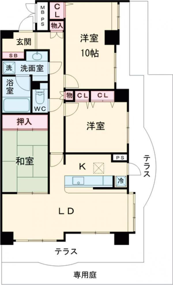 ライオンズマンション篠崎 107号室の間取り