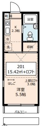 第12クリスタルハイツ 201号室の間取り