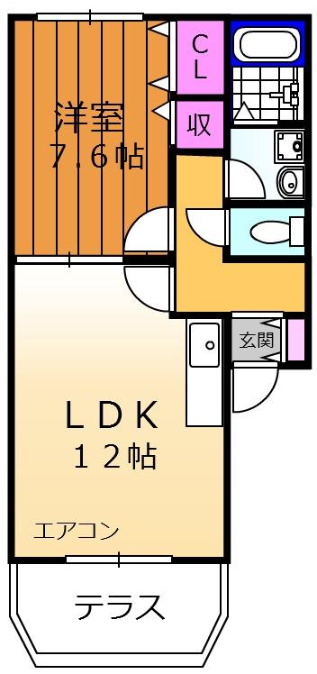 GRACE岸和田 102号室の間取り