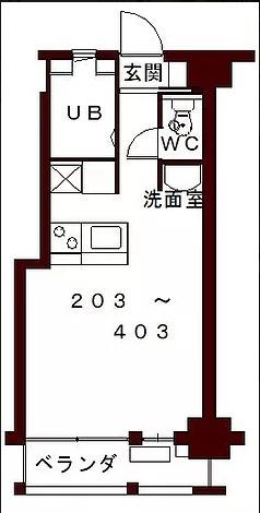 コリドールエスト・203号室の間取り