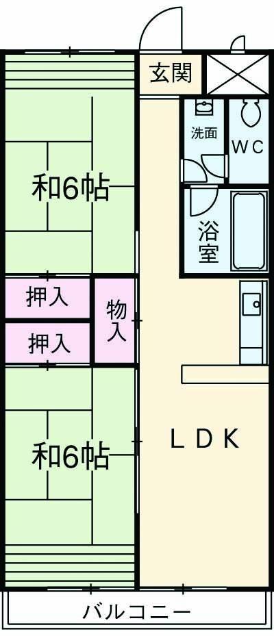 第一磯屋敷マンション 4C号室の間取り