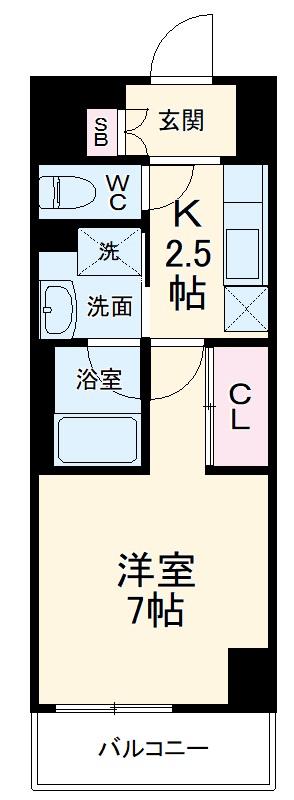 ラグゼナ武蔵新城・103号室の間取り
