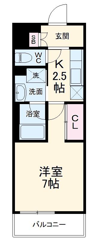 ラグゼナ武蔵新城・109号室の間取り