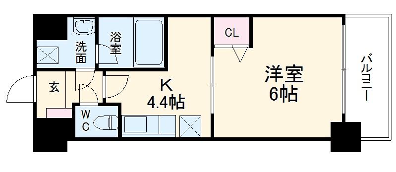 アクアプレイス京都三条朱雀・606号室の間取り