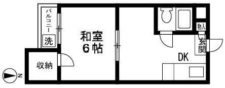 PES六本松西・203号室の間取り