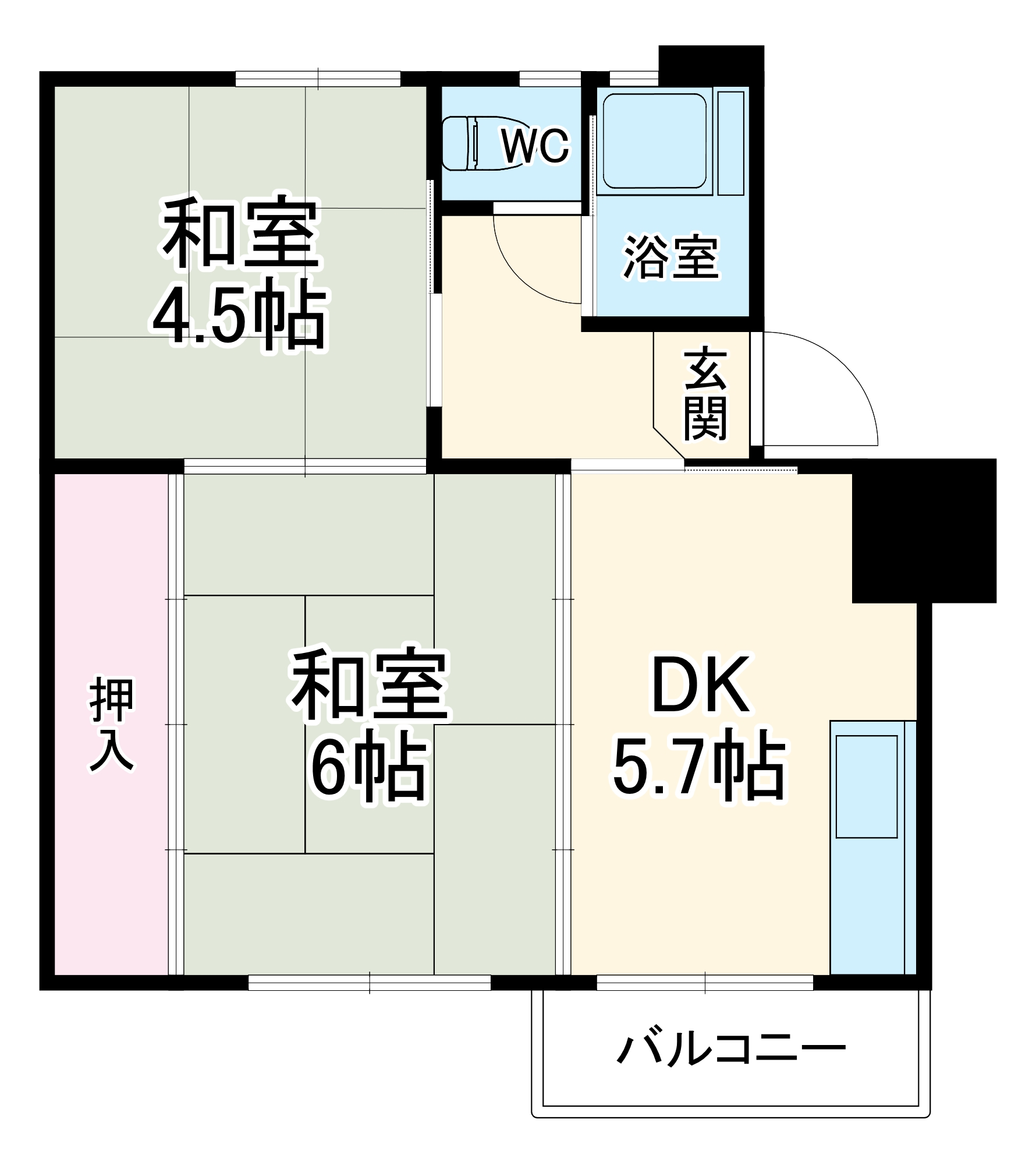 浦賀共同住宅団地8号棟・813号室の間取り