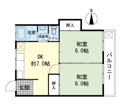 三福マンション・203号室の間取り