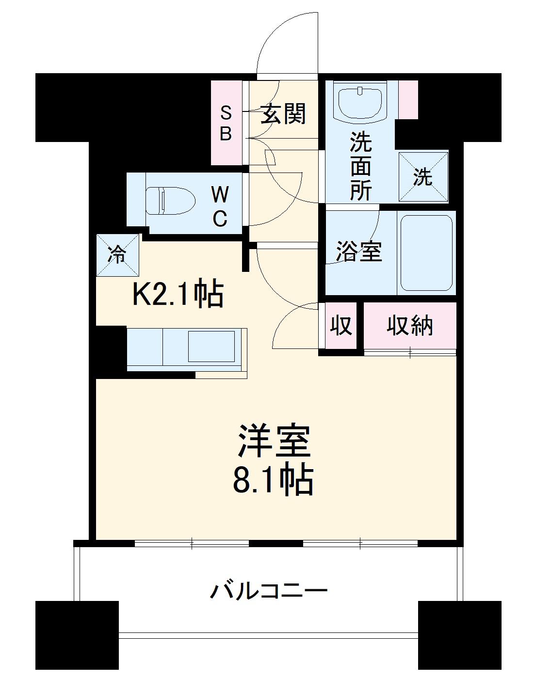 スタイリオ横浜反町・804号室の間取り