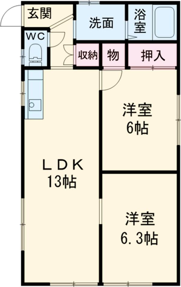 六ツ師中屋敷625-1貸家・B号室の間取り