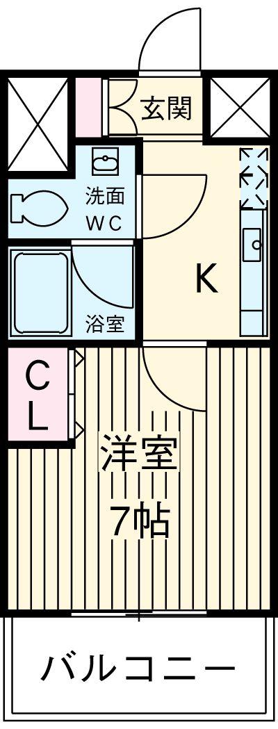 パークアクシス横浜井土ヶ谷・704号室の間取り