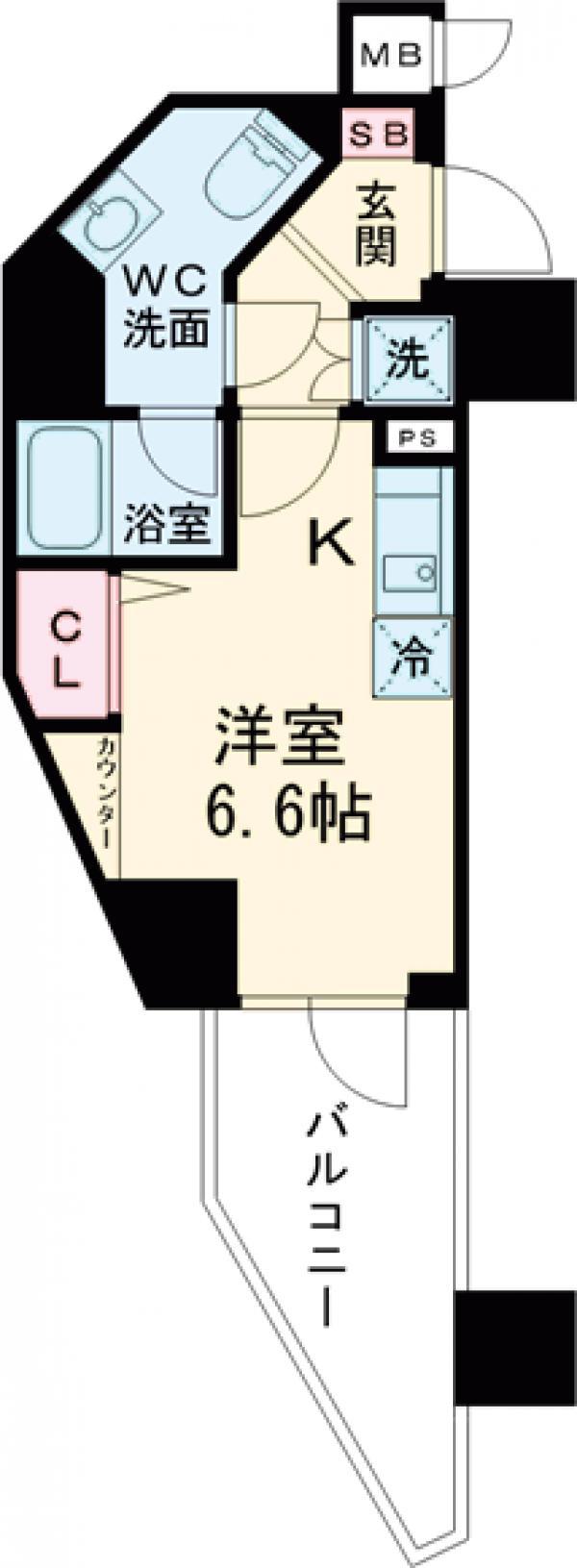 ハーモニーレジデンス三田・703号室の間取り