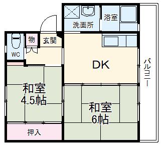 ビレッジハウス菊川第二1号棟・303号室の間取り