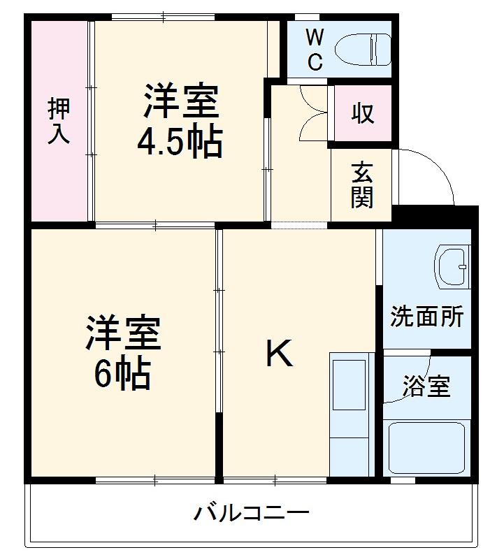 ビレッジハウス菊川第二1号棟・408号室の間取り