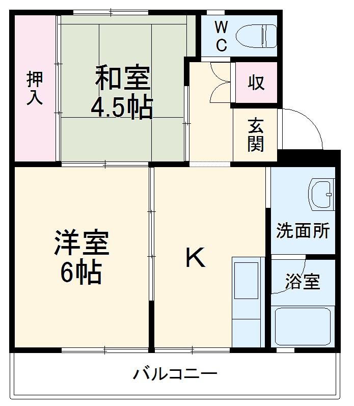 ビレッジハウス菊川第二1号棟・506号室の間取り
