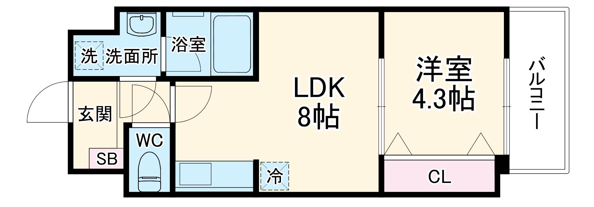 アクアプレイス京都三条朱雀・301号室の間取り