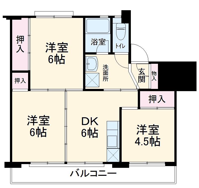 ビレッジハウス横地2号棟・507号室の間取り