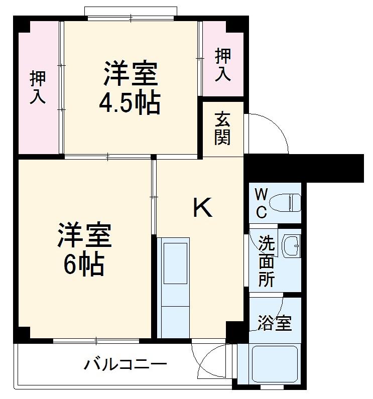 ビレッジハウス浜岡2号棟・307号室の間取り