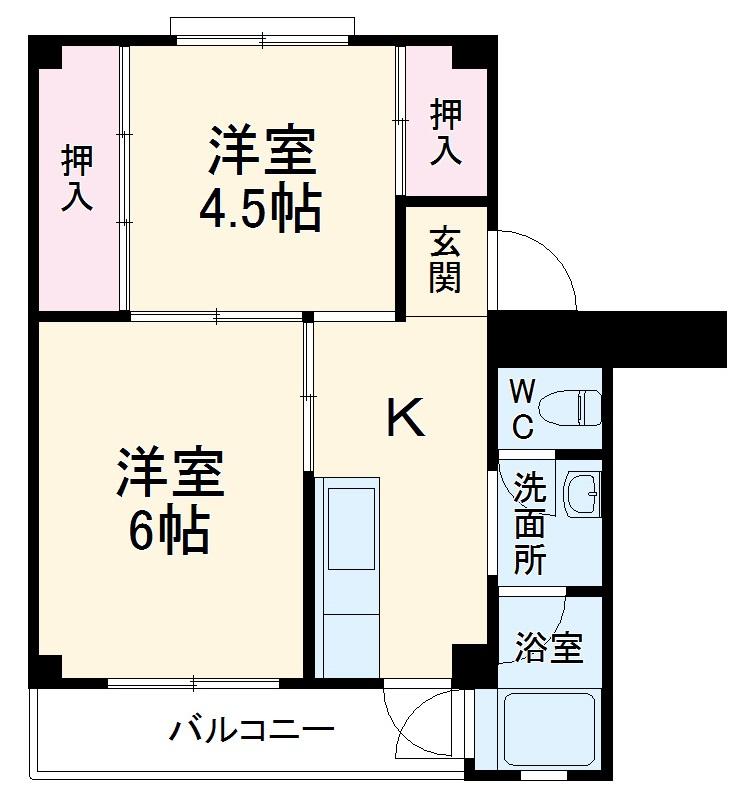 ビレッジハウス浜岡2号棟・405号室の間取り